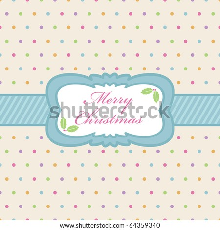 polka dot background with christmas ribbon and frame