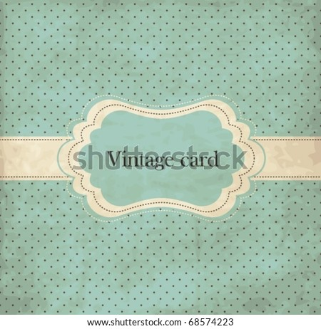 Polka dot design, blue vintage frame