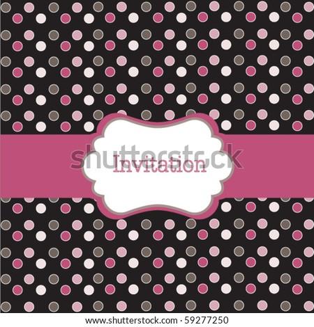 Polka dot design, frame on black - stock vector