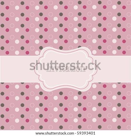 Polka dot design, frame on pink - stock vector