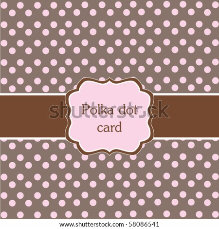 Polka dot design,pink frame - stock vector