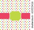 Polka dot design, vector frame - stock vector