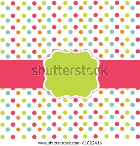 Polka dot design, vector frame - stock vector