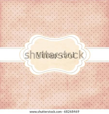 Polka dot design, vintage frame - stock vector