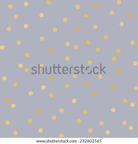 Polka dot golden paper grunge vector seamless pattern on realistic texture - stock vector