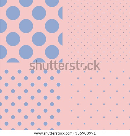 Polka dot set. Seamless pattern. Vector illustration. Rose quartz and serenity colors.