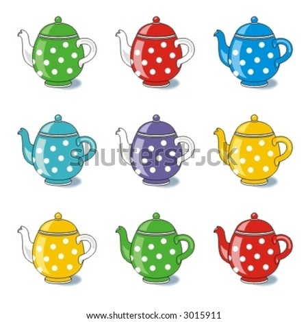 Polka-dot teapots isolated on white ( for high res JPEG or TIFF see image 3015870 )  - stock vector