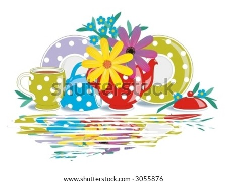 Polka-dot teatime porcelain with flowers and wet surface reflection effect ( for high res JPEG or TIFF see image 3055823 )  - stock vector