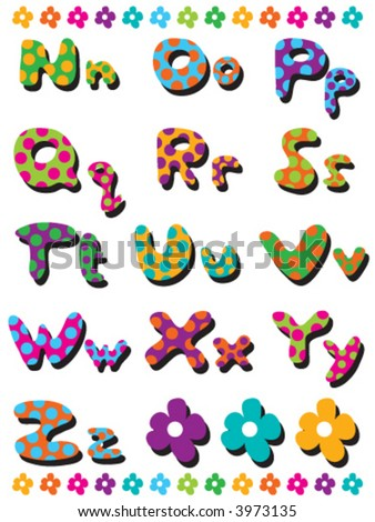 polka dots fun alphabets N to Z (vector) - illustration for kids / part 2 of a full set - stock vector