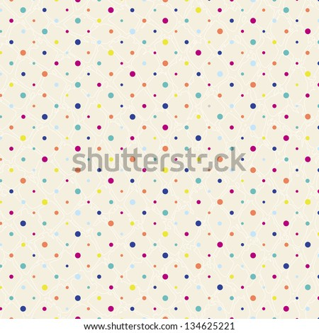 polka dots pattern, seamless, with grunge background, retro style - stock vector