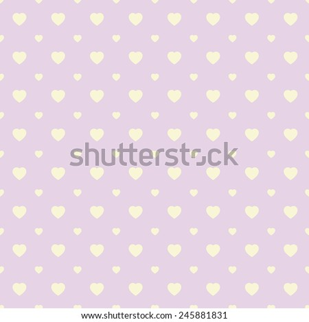 Polka dots seamless pattern with hearts. Valentines day background. Vector illustration - stock vector