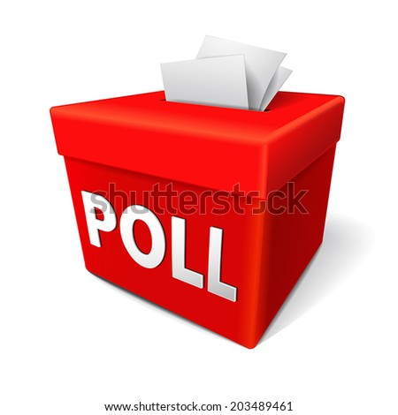 poll word on a red collection box for votes, survey responses or answers to questions - stock vector