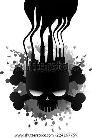 Polluting industry skull icon illustration - stock vector