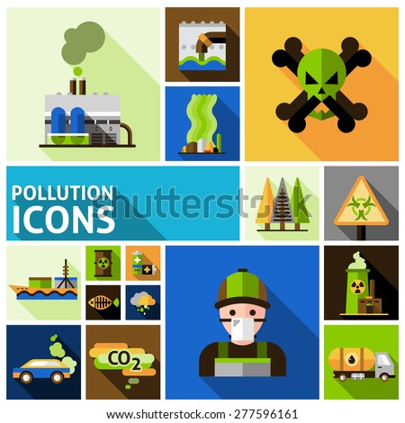 Pollution and environment toxic damage flat decorative icons set isolated vector illustration - stock vector
