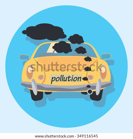 pollution circle icon with shadow - stock vector