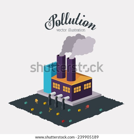 Pollution design over white background,vector illustration. - stock vector