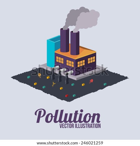 Pollution design over white background, vector illustration. - stock vector