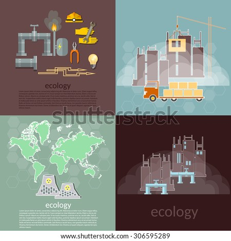 Pollution ecology concept waste management plants smoke smog ecological disaster vector icons  - stock vector