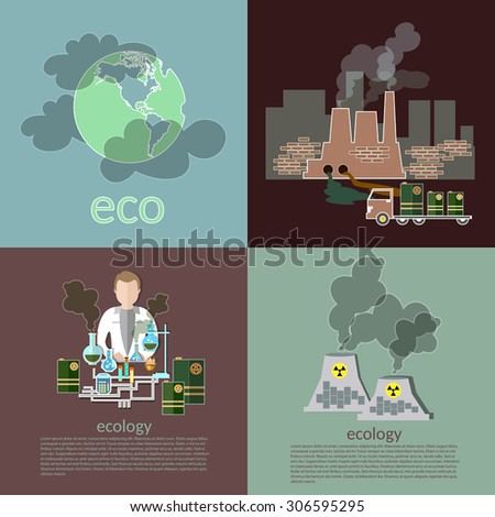 Pollution ecology smog risk plants smoke recovery garbage waste vector icons - stock vector
