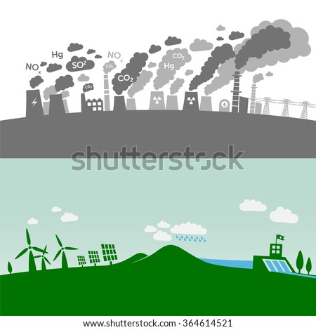 Pollution from classic power plants vs. green types of power plants (water, solar, geothermal, wind). Sustainable development theme. - stock vector