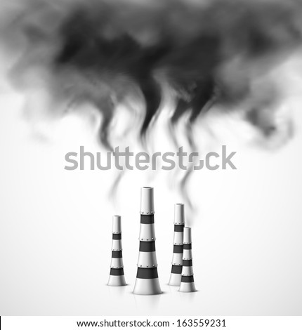 Pollution of environment. Illustration contains transparency and blending effects, eps 10 - stock vector
