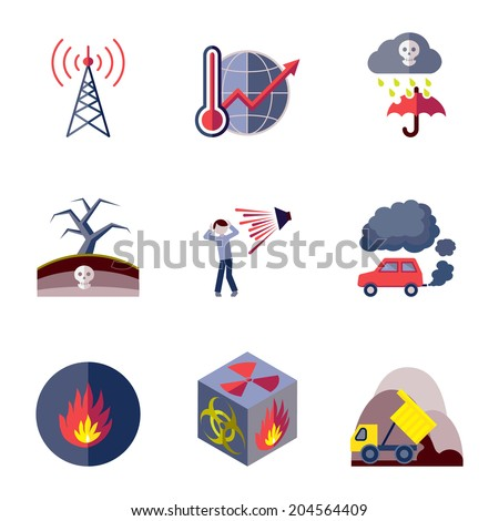 Pollution toxic environment damage and contamination flat icons isolated vector illustration - stock vector