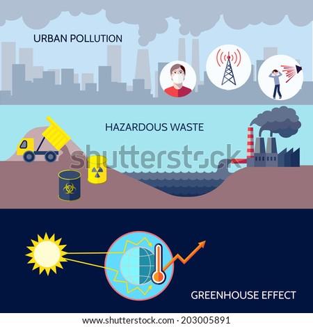 Pollution urban hazardous waste greenhouse effect icons flat set isolated vector illustration - stock vector