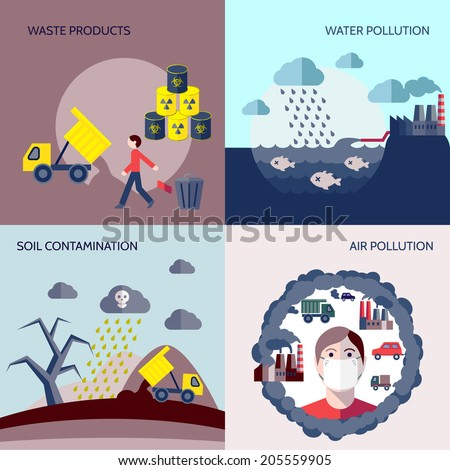 Pollution waste products water soil air contamination icons flat set isolated vector illustration - stock vector