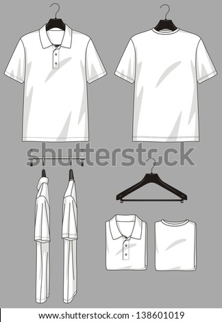 Polo-neck and t-shirt in different types for clothing store - stock vector
