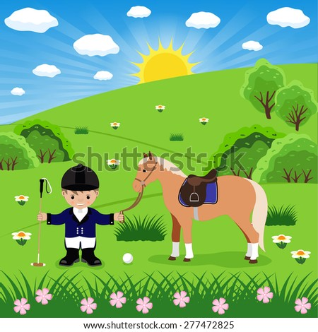 polo player and horse in the meadow - stock vector