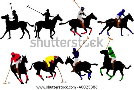 polo players vector silhouette - stock vector