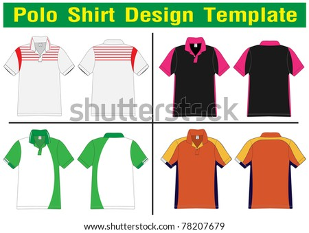 Polo Shirt Design Lined Vector Template Stock Vector