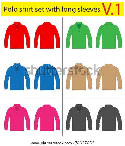 Polo Shirt long sleeves. vector template design - stock vector