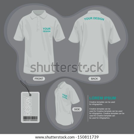 Polo shirt uniform template, illustration by vector design. - stock vector