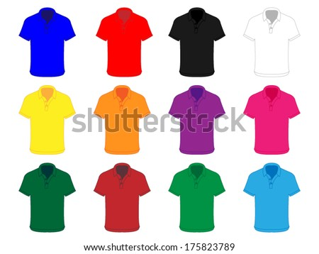 Polo Shirts in Different Colors - stock vector