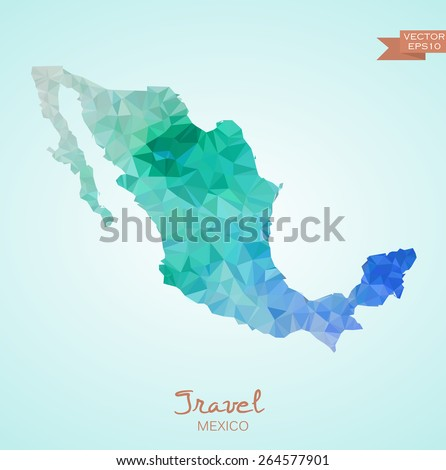 Poly map of Mexico isolated on background. Vector version. - stock vector