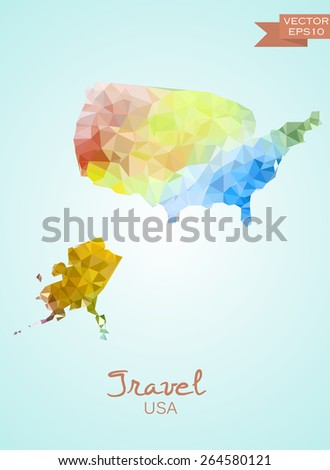 Poly map of USA isolated on background. Vector version. - stock vector
