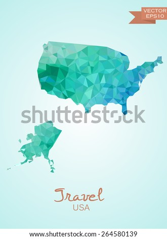 Poly map of USA isolated on background. Vector version.