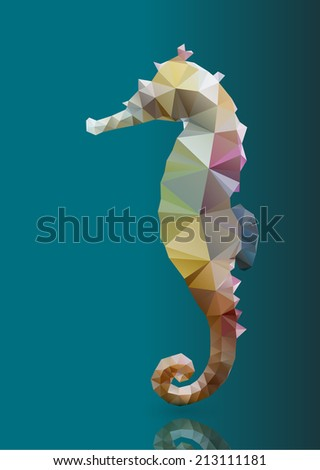 Polygon abstract illustration of seahorse