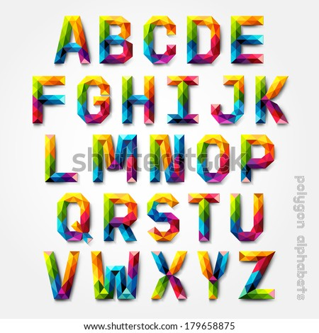 Polygon alphabet colorful font style. Vector illustration. - stock vector