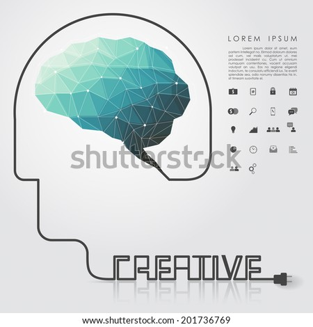 polygon brain and creative head wire with business icon vector - stock vector