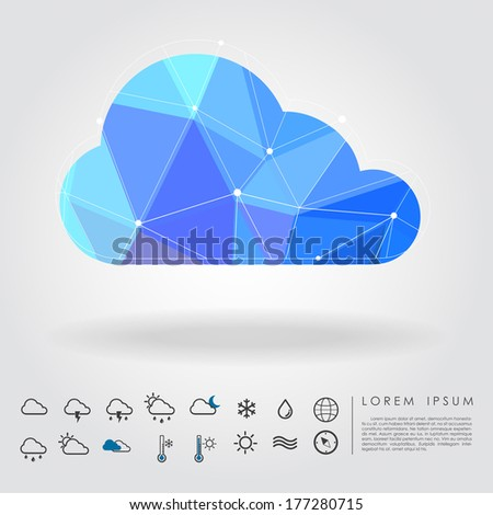 polygon cloud with weather icon vector - stock vector
