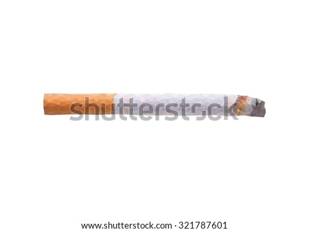 polygon concept cigarette on a white background - stock vector