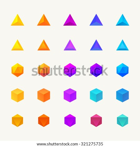Polygon 3d objects set. Vector icons - stock vector