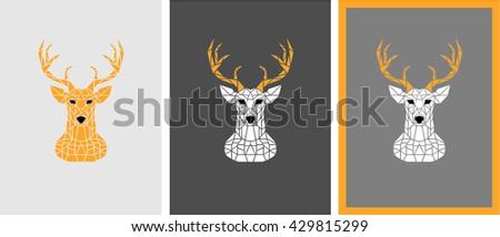Polygon deer head. Winter colors. - stock vector