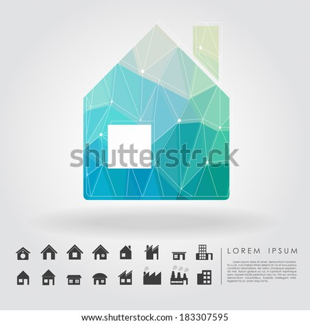 polygon house symbol with building icon vector - stock vector