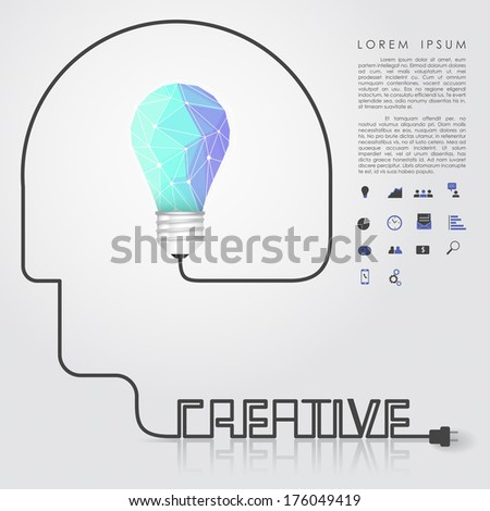 polygon idea light bulb with business icon and creative head wire vector - stock vector