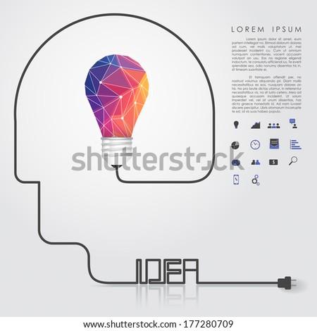 polygon idea light bulb with business icon and idea head wire vector - stock vector