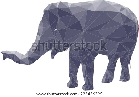 Polygon illustration of elephant, vector triangle design - stock vector