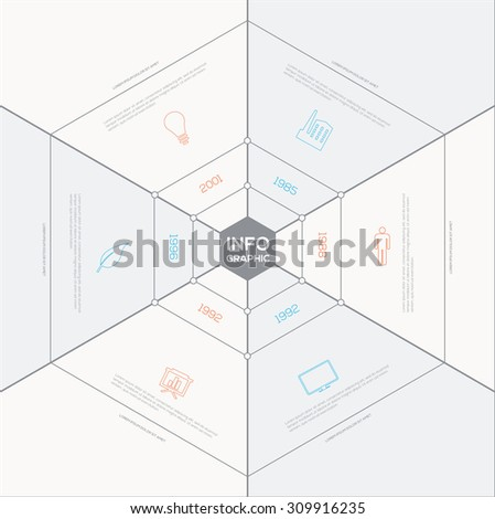 Polygon  Infographic. Flat Vector design template.  - stock vector